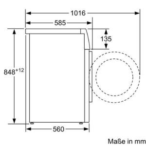 Skizze inklusive Abmessungen und Frontöffnung bei Vorderlader-Waschmaschine