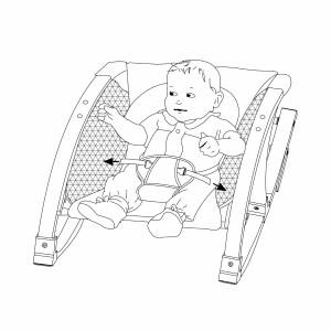 Das Baby sollte immer angeschnallt werden in der Babywippe.
