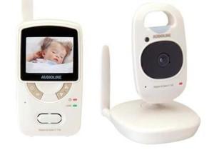 Die Eltern- und Babyeinheit des Babyphone Audioline 900977 Watch and Care Babyphone V110