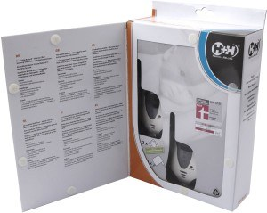 Das Innere der Verpackung des Babyphone Hartig + Helling 97864 MBF 8020