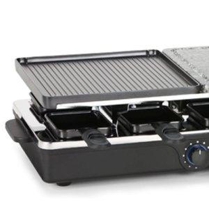Die geriffelte Grillfläche des Tristar RA-2992 Raclette-Steingrill