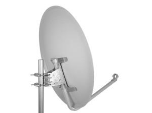 Die Masthalterung der Digital Sat Antenne 80cm Alu Spiegel Schüssel + Optimum Quad LNB4