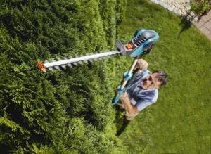 Die Gardena 8880-20 E-Heckenschere High Cut im Einsatz