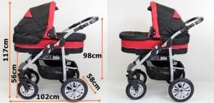 Abmessung - Kombikinderwagen CORAL 3 in 1 Komplettset
