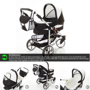 Babywanne Kombikinderwagen Chilly Kids Matrix II 3 in 1