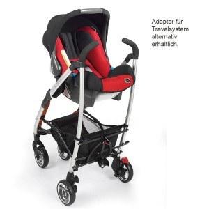 Der Gesslein Buggy ist mit einem Adapter für die Babyschale ausgestattet.