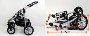 Zusammengeklappt - Kombikinderwagen CORAL 3 in 1 Komplettset