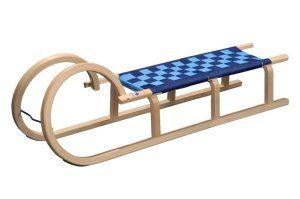 Die bequeme Sitzfläche des R.P.L. Trading Colint Hörnerrodel mit Gurtsitz eignet sich für kleine Kinder.