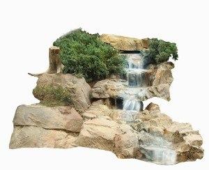 Ein Wasserfall bringt Sauerstoff in den Gartenteich