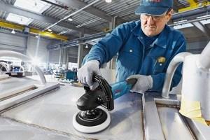 Stahlpolitur mit Bosch Polierer