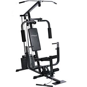 Die Fitnessstation hat 40 kg Gewichte dabei.