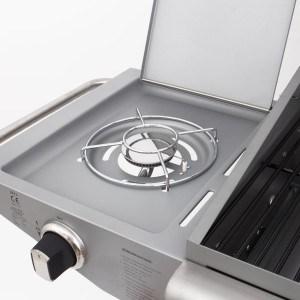 Der Rustler LP-0203A Edelstahl BBQ Gas Grill, RS 810 hat 6 Hauptbrenner und ein zusätzlicher Seitenbrenner.