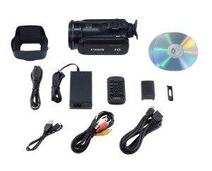 Der Canon Legria HF G25 HD-Camcorder kommt mit reichlich Zubehör.