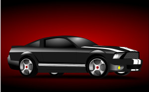 Das Auto schwarz