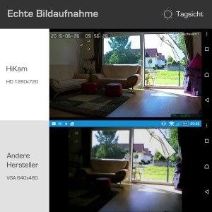 HiKam Q7 Wireless IP-Kamera Hauptbild Verpackung Front PIR Rueckseite Tagsicht