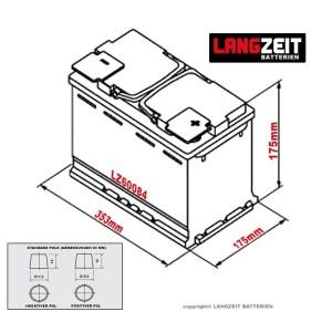 LANGZEIT Autobatterie 12V 100 AH Abmessungen
