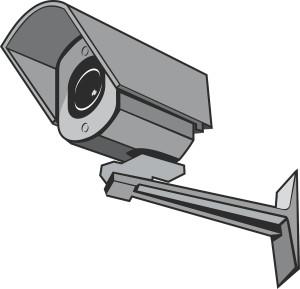 Überwachungskamera in grau als Zeichnung