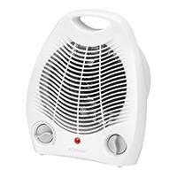 Heizlüfter 2000 Watt - 2 Heizstufen schaltbar (1000/2000 Watt), Kaltstufe (Ventilator), Stufenlos regelbarer Thermostat, Kontrollleuchte, Stabiler Tragegriff