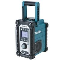 Makita Akku-Baustellenradio - ideale Begleiter auf der Baustelle; kann mit allen Makita-Block-Akkus von 7,2 bis 18 V betrieben werden; zum Empfang von UKW und Mittelwelle geeignet, digitales, großflächiges Display, mit Weckfunktion, gehäuse in robuster Baustellenausführung