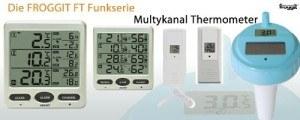 Funk Thermometer Froggit FT0073 mit 3 Aussensensoren Luftfeuchte LCD Display Min/max