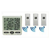 Digital LCD Funk Thermometer mit drei Aussensensoren. Erweiterungsmöglichkeit auf bis zu 8 Außensensoren.
