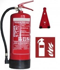 6kg ABC Pulver Feuerlöscher, DIN, EN3, außenliegendes Prüfventil, inkl. Andris:registered: Prüfnachweis mit Jahresmarke und ISO Piktogramm