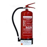 6kg ABC Pulver Feuerlöscher mit Manometer inkl. ANDRIS® Prüfnachweis mit Jahresmarke und ISO Piktogramm, Normung: EN3, BSI, CE 0035, ISO 9001 Zertifizierung.