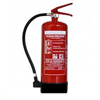 Feuerlöscher 6 Liter Schaum mit Wandhalterung und Symbolschild 150x150 Folie.
