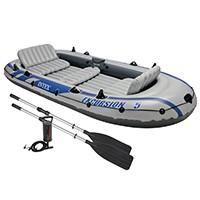 eignet für 5 Personen bis maximal 455 kg, mit 3 Luftkammern im Boot, die hilfreich für einen extra Auftrieb sind, Ventile am Bootsende bieten eine schnelle Aufblas- und Luftablassmöglichkeit, kräftige Vinyl-Konstruktion.