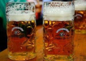 Oktoberfestbier in Gläsern