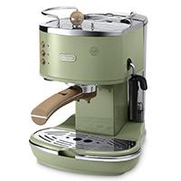 DeLonghi Espressomaschine icona Vintage ECOV 311.GR olive DeLonghi, Neu-Isenburg Beschreibung: Für Kaffeepulver und vorportionierte E.S.E. Pods (Easy Serving Espresso), 2 Filtereinsätze, integrierter Kaffeecamper.