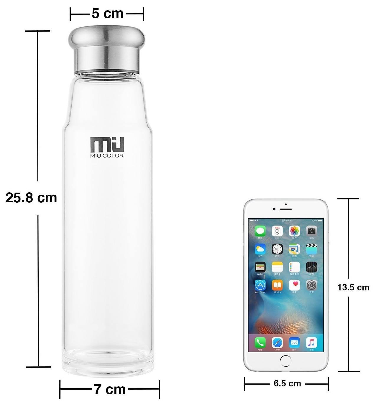 Angabe der Groesse einer Flasche vs. Handy.
