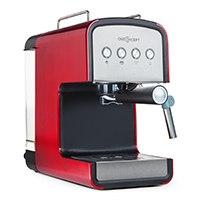 Elegante Espressomaschine mit 850 Watt Leistung, 15 Bar Pumpendruck sowie Dampfdüse zum Milch aufschäumen.