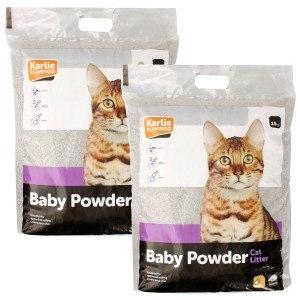 3x15kg=45 kg Flamingo Karlie Pet Plus Katzenstreu Babypuder Duft Powder - Gratis Dazu 10 kg Greencat dazu
