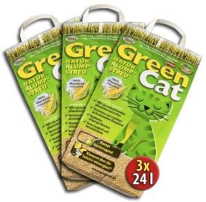 3x24 =72 Liter GreenCat ÖKO-PLUS NATURSTREU GREEN CAT`S KATZENSTREU - BEST STREU CornCat