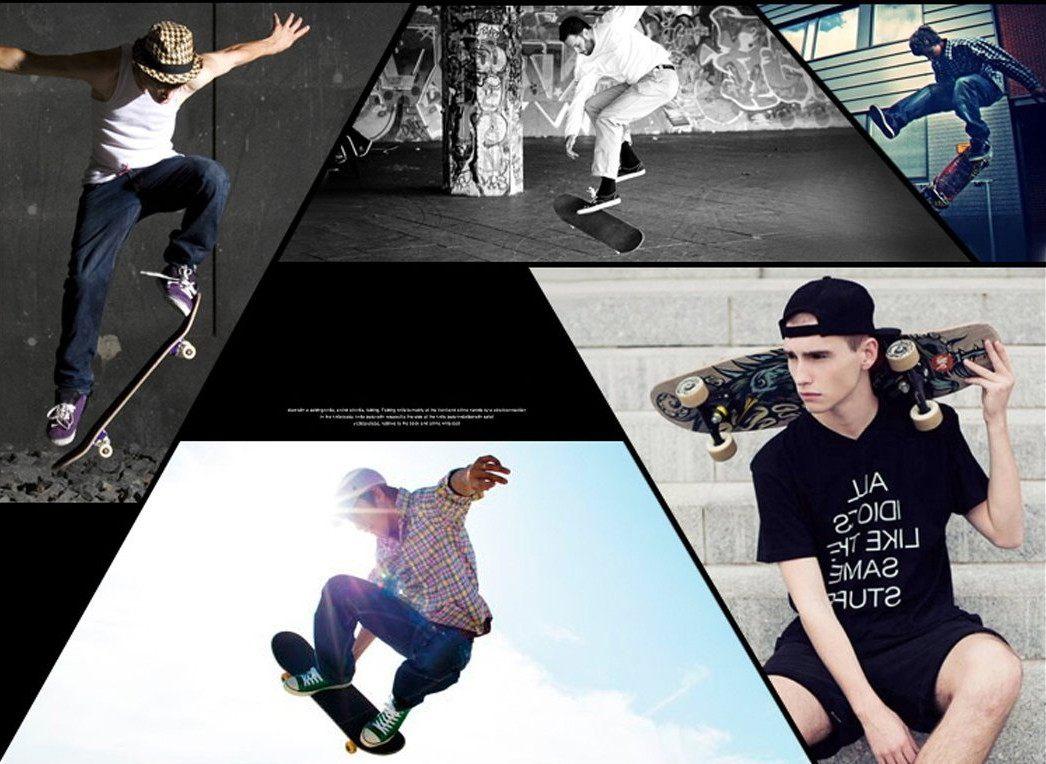 Verschiedene Skateboarder in Action