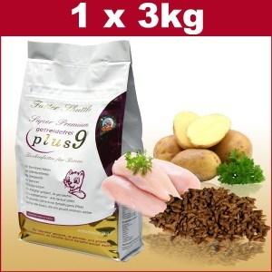 Getreidefreies Katzenfutter Trockenfutter Plus 9 in der höchsten Güte. 3 kg
