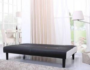 NEG Design Schlafsofa HELIOS (schwarz/weiß) Mit Napalon Leder Bezug  Klappsofa