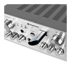 Skytronic kompakter Hifi Verstärker Stereo-Verstärker (USB-SD, 2x Mikrofon, 2x 50 Watt) silber