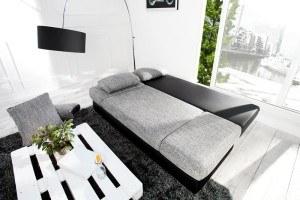 Stylisches Design Schlafsofa ORLANDO Grau Schwarz Strukturstoff Federkern  Mit Bettkasten