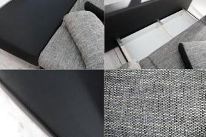 Die Verarbeitungsqualität Stylisches Design Schlafsofa ORLANDO Grau Schwarz  Strukturstoff Federkern Mit Bettkasten