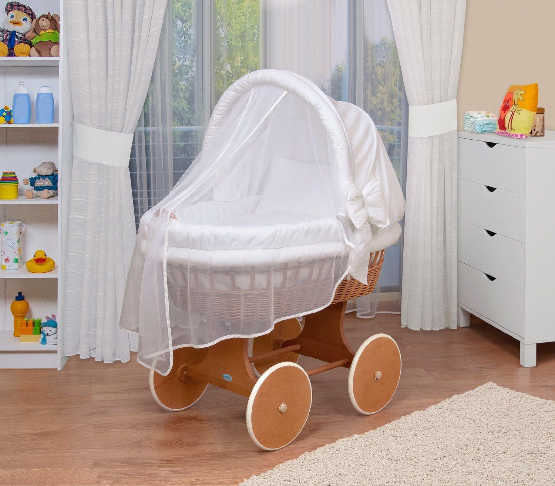 WALDIN Baby Bollerwagen,Stubenwagen,komplett mit Zubehör,Stoffe Grau//Sterne-grau