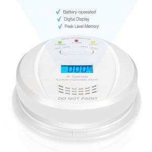 X-Sense Kohlenmonoxidmelder CO Melder / Warngerät Warnmelder Carbon Monoxide CO Detector mit Digitaler Anzeige, Batteriebetrieben, CO03JF