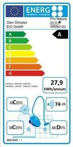 Energieetikett vom Staubsauger mit Beutel EIO Glen Dimplex 58590100
