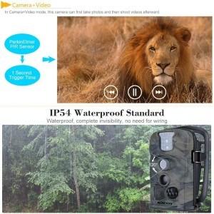KKmoon 12MP 1080P 120 ° Weitwinkel HD Wildkamera 850nm IR IP54 2.4 Zoll Hunting Kamera LED Schirm Jagd Kamera mit 8 GB SD Karte