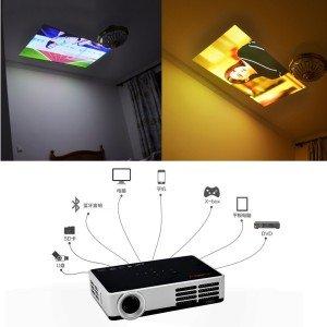 Tera® DLP-600 Mini 3D Multimedia Projektor Beamer Mobil Tragbar HDMI USB Micro SD PC-RGB AV Heimkino HD + HDMI Kabel