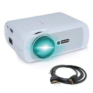 Crenova® XPE460 LED Upgrade Beamer 1200 Lumen 800*480 Auflösung Augenschutz inklusive HDMI Kabel für das Heim- Gartenkino verknüpfbar mit TV Laptop PC Spielekonsole Media Player SD Karte unterstützt iPad iPhone Android Smartphone
