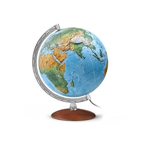 Globus-FR-Relief-Holzfuß-Metallmeridian