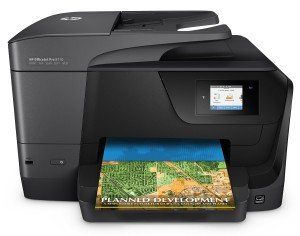 HP OfficeJet Pro 8710 Multifunktionsdrucker (A4, Drucker, Scanner, Kopierer, Fax, WLAN, LAN, Duplex, HP ePrint, Airprint, Cloud Print, USB, 1200 x 1200 dpi) schwarz