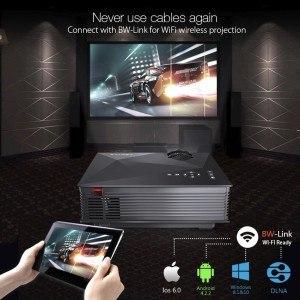 Portable WiFi Beamer, BlitzWolf Mini Projector mit 1200 Lumens LED Multimedia Heimkino Home Cinema Theater für Telefon / Laptop / PC / SD Karte / Play Station / TV Box / Xbox / USB Disk (Schwarz)